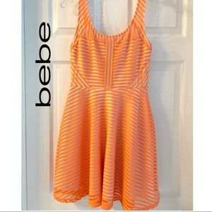 Bebe Fit and flare striped dress
